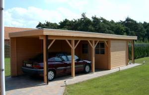 carport met tuinhuis plat dak