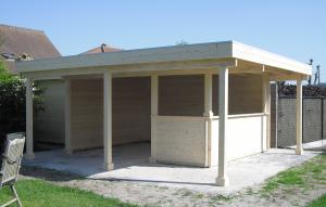 plat dak met oversteken voor- en zijkant