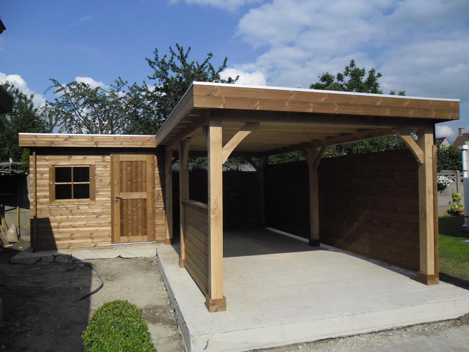 carport met tuinhuis blokhut in thermohout